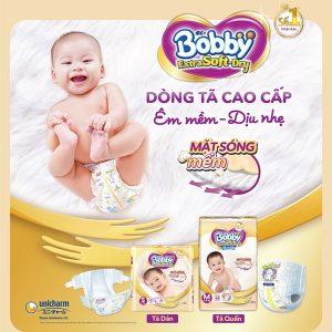 Tã Dán Bobby Siêu Mềm Extra Soft Dry S74 SX48 S40 M34 L30 XL27 Cho Bé